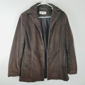 Calvin Klein brown suede winter coat medium